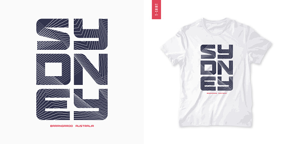 Sydney. Abstract geometric t-shirt vector design, poster, print, template