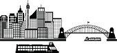 Sydney Australia Skyline Black and White Vector Illustration