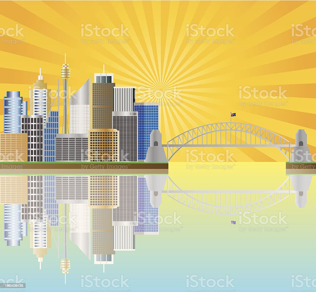 Sydney Australia Skyline Landmarks Harbour Bridge with Sun Rays...