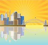 Sydney Australia Skyline with Sun Rays Vector Illustration