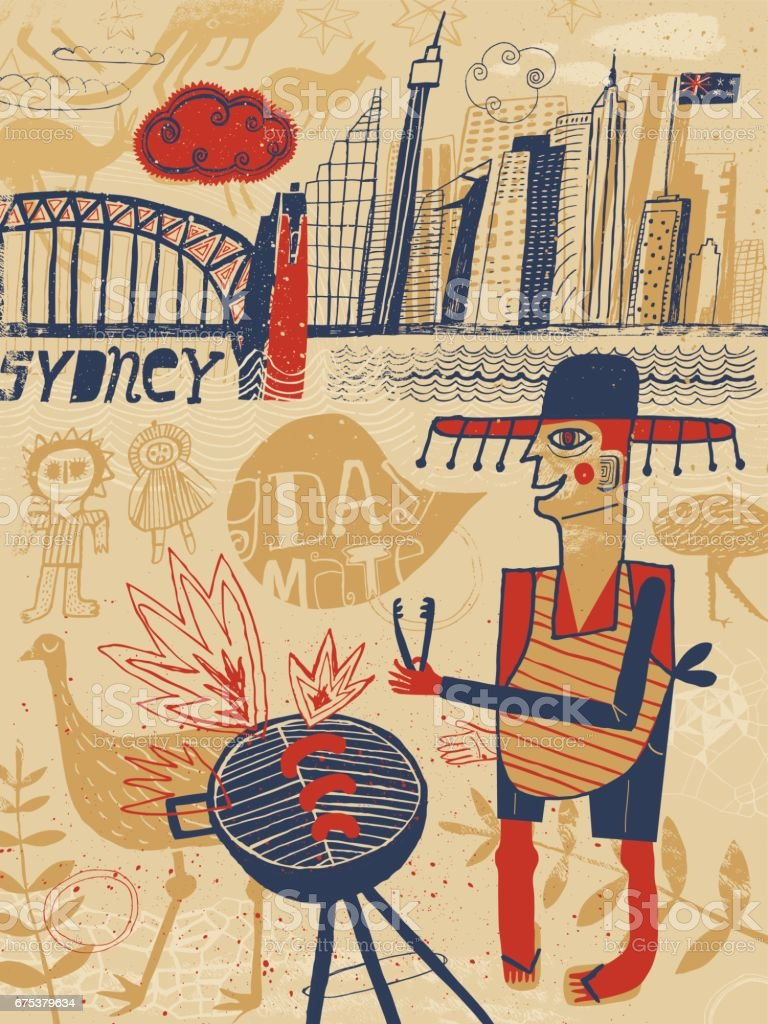 Sydney Australia vector art illustration