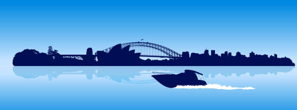 Sydney city detailed skyline with moving speedboat vector art illustration
