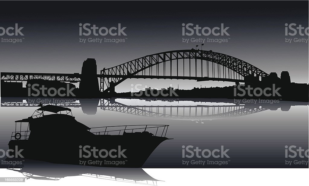 Sydney Harbour At Night royalty-free sydney harbour at night stock vector art & more images of architecture