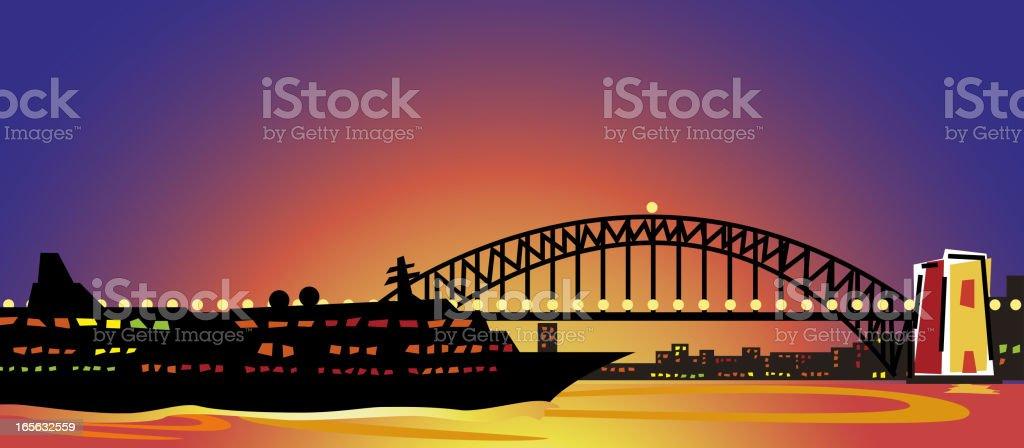 Sydney Harbour Bridge at sunset vector art illustration