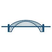 Sydney Harbour Bridge flat blue icon isolated on white
