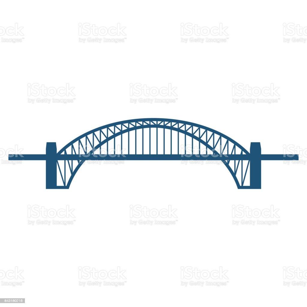 Sydney Harbour Bridge flat blue icon isolated on white vector art illustration