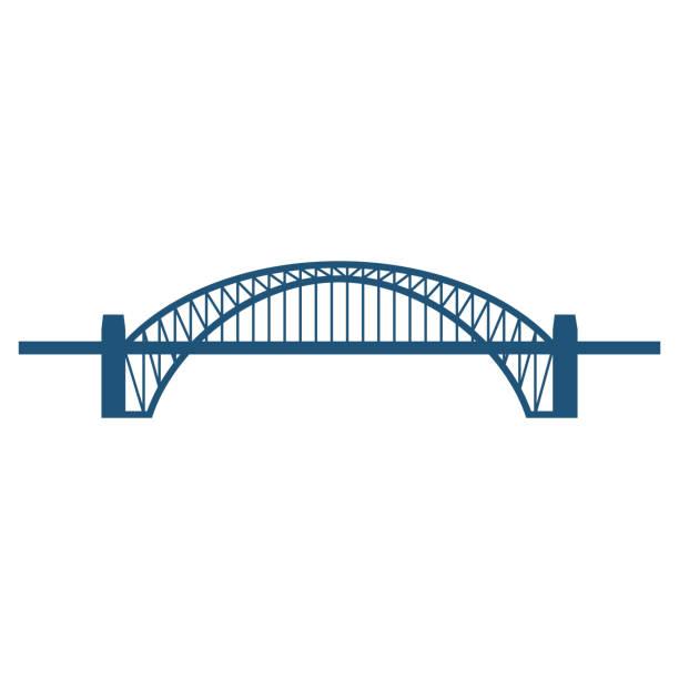 Sydney Harbour Bridge plat blauwe pictogram geïsoleerd op witvectorkunst illustratie