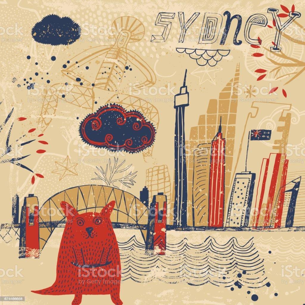 Sydney in Australia vector art illustration