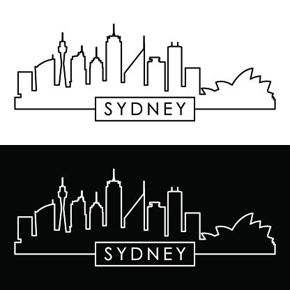 Sydney skyline. Linear style. Editable vector file.