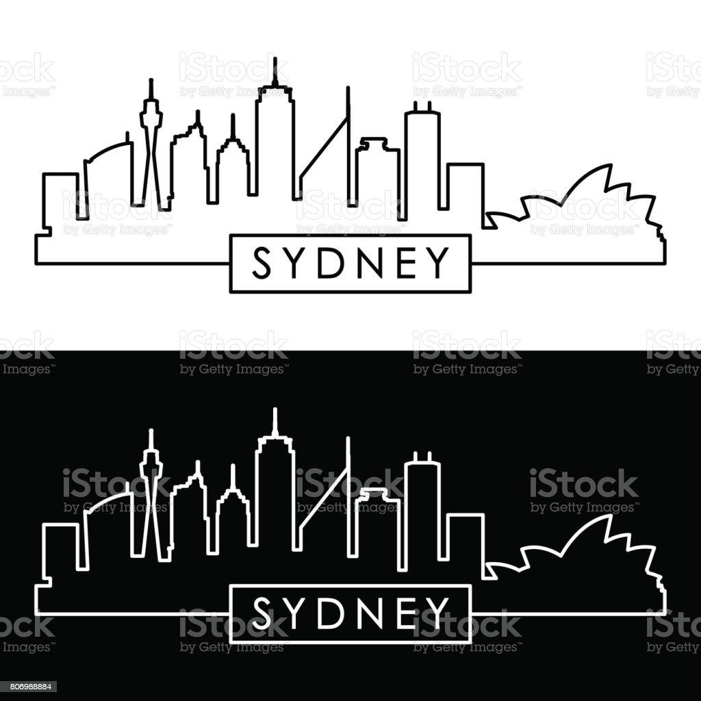 Sydney skyline. Linear style. Editable vector file. vector art illustration