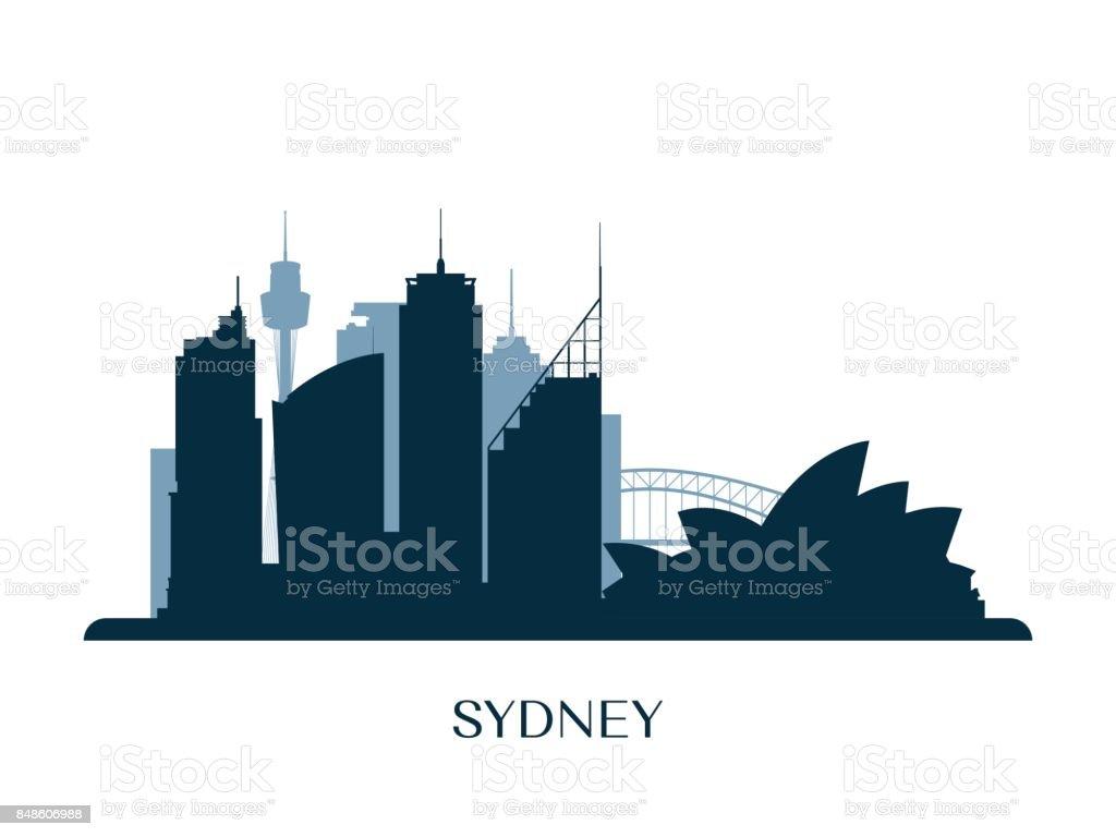 Sydney skyline, monochrome silhouette. Vector illustration. vector art illustration