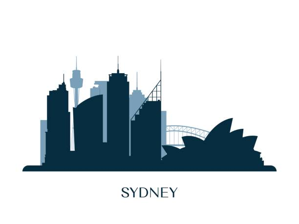 sydney skyline, monochrome silhouette. vector illustration. - architecture silhouettes stock illustrations
