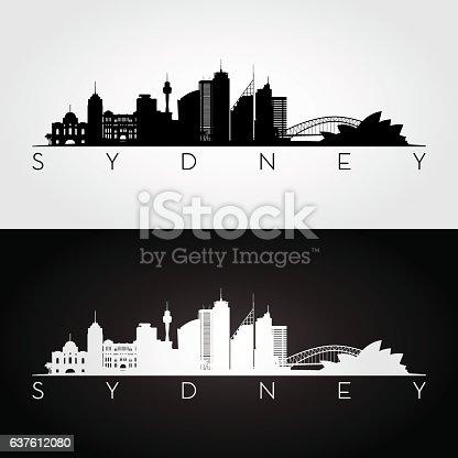 Sydney skyline and landmarks silhouette. Vector illustration.