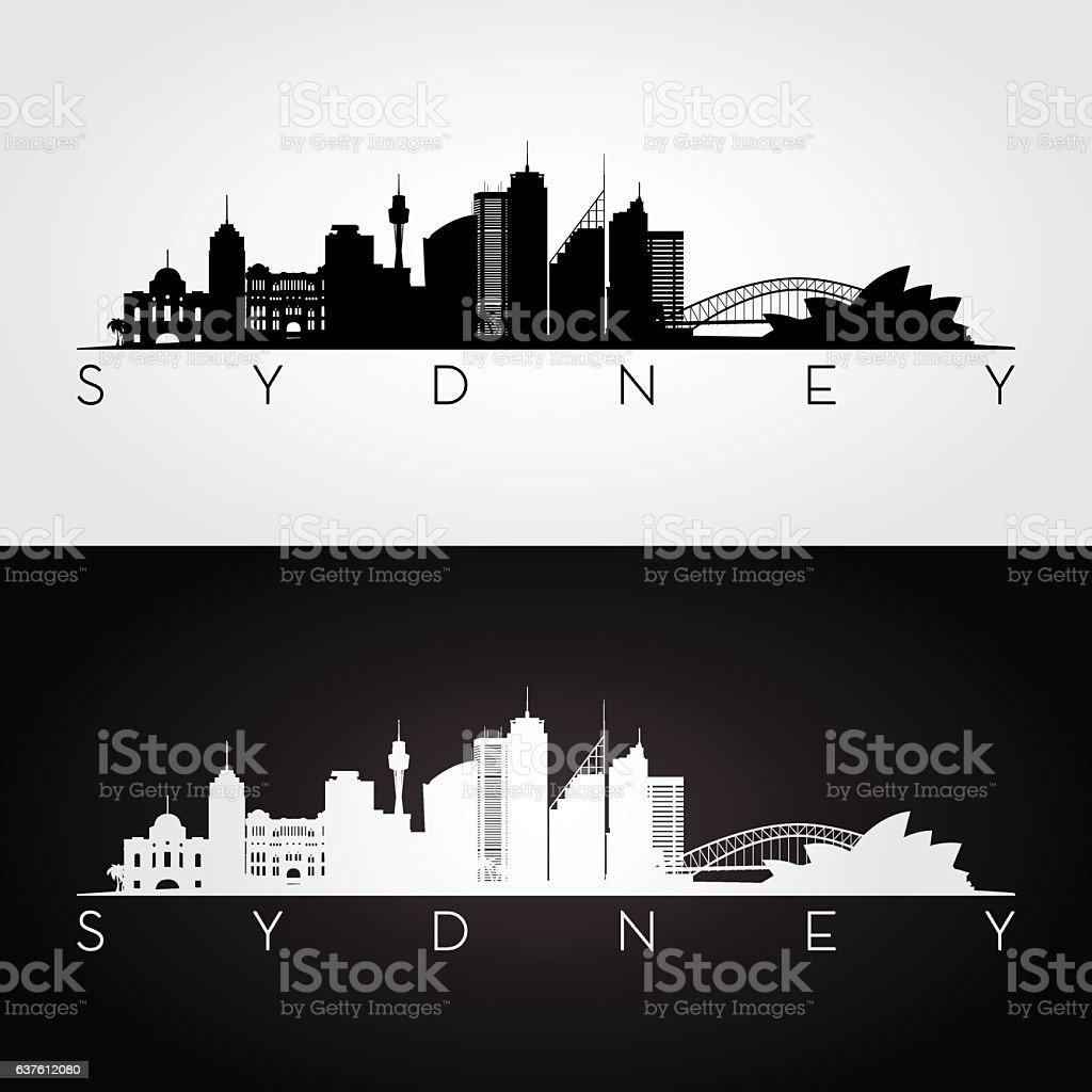 Sydney skyline silhouette. vector art illustration