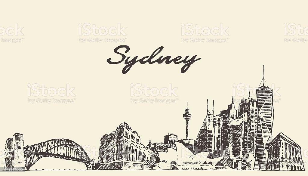 Sydney skyline vintage illustration drawn sketch vector art illustration
