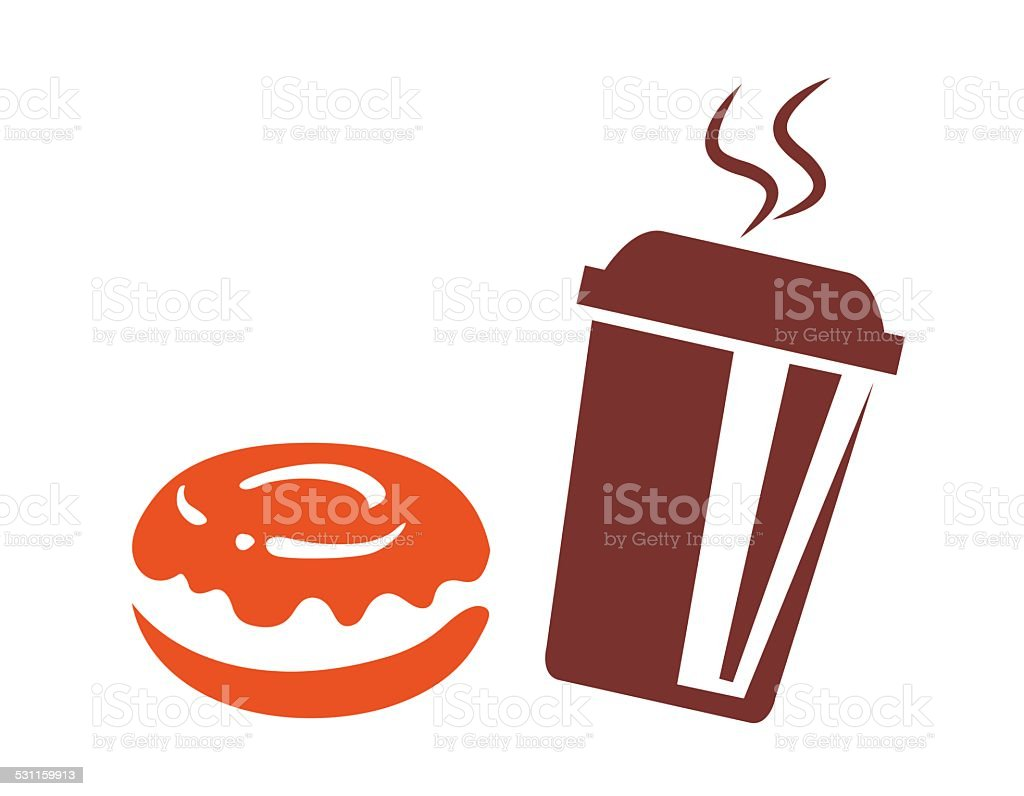 """Sylhouette """"Coffee to go with donuts"""" vector art illustration"""
