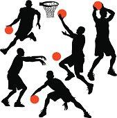 Five basketball players doing some of the basketball drills.