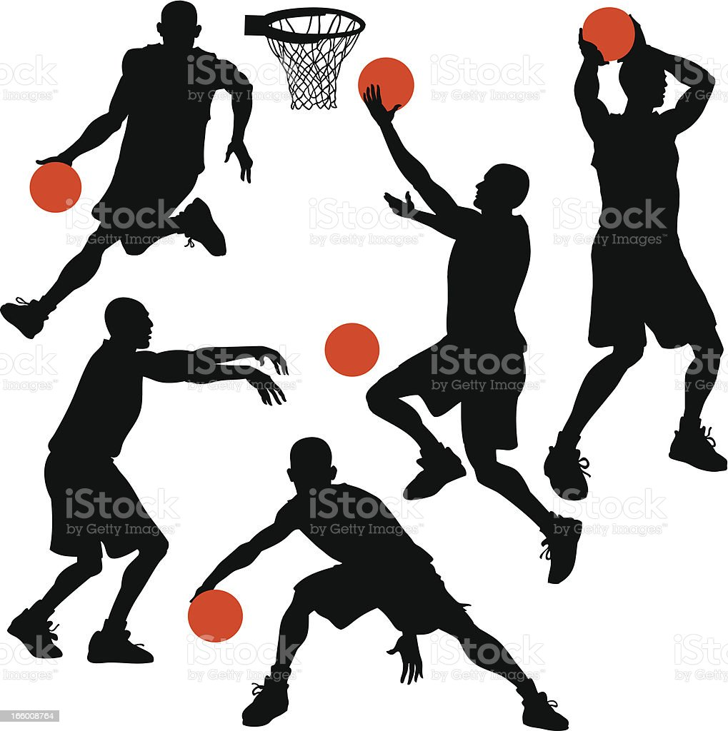Sylhouettes of Basketball Players in action vector art illustration