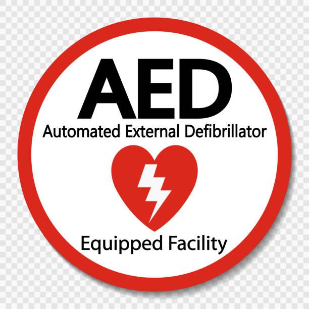 Symbol AED Sign label on transparent background vector art illustration