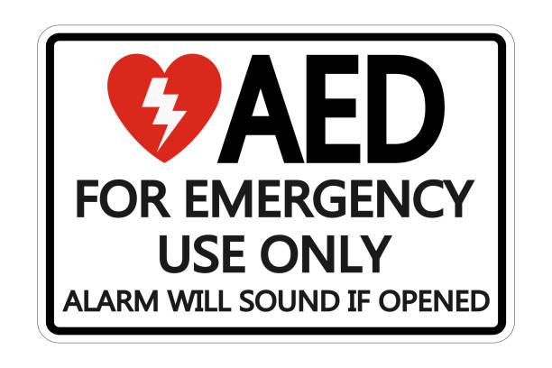 Symbol AED Sign label on white background vector art illustration