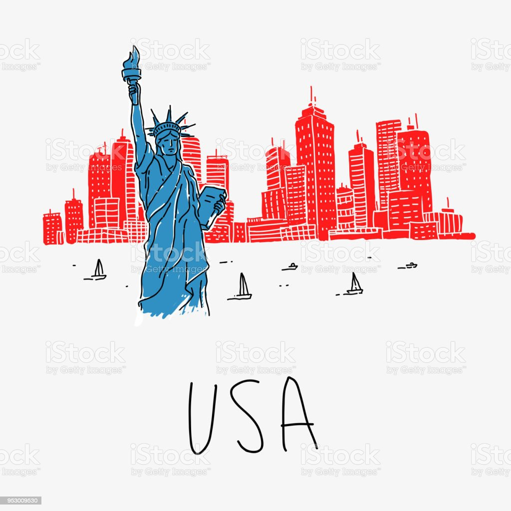 Symbol America Statue Of Liberty Stock Vector Art More Images Of