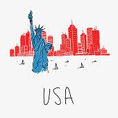Vector Illustration Symbol America Statue of Liberty