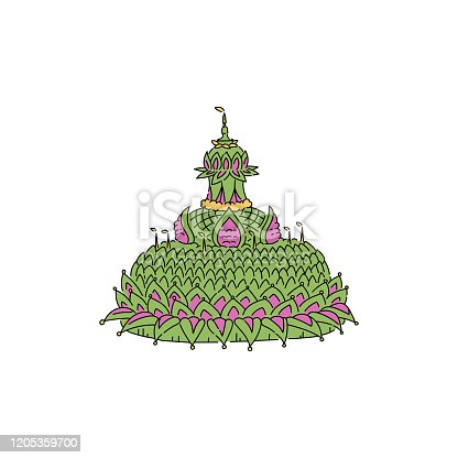 Symbol Asian Thai Loy Krathong festival, festive green float with a candle and light, isolated flat vector illustration.
