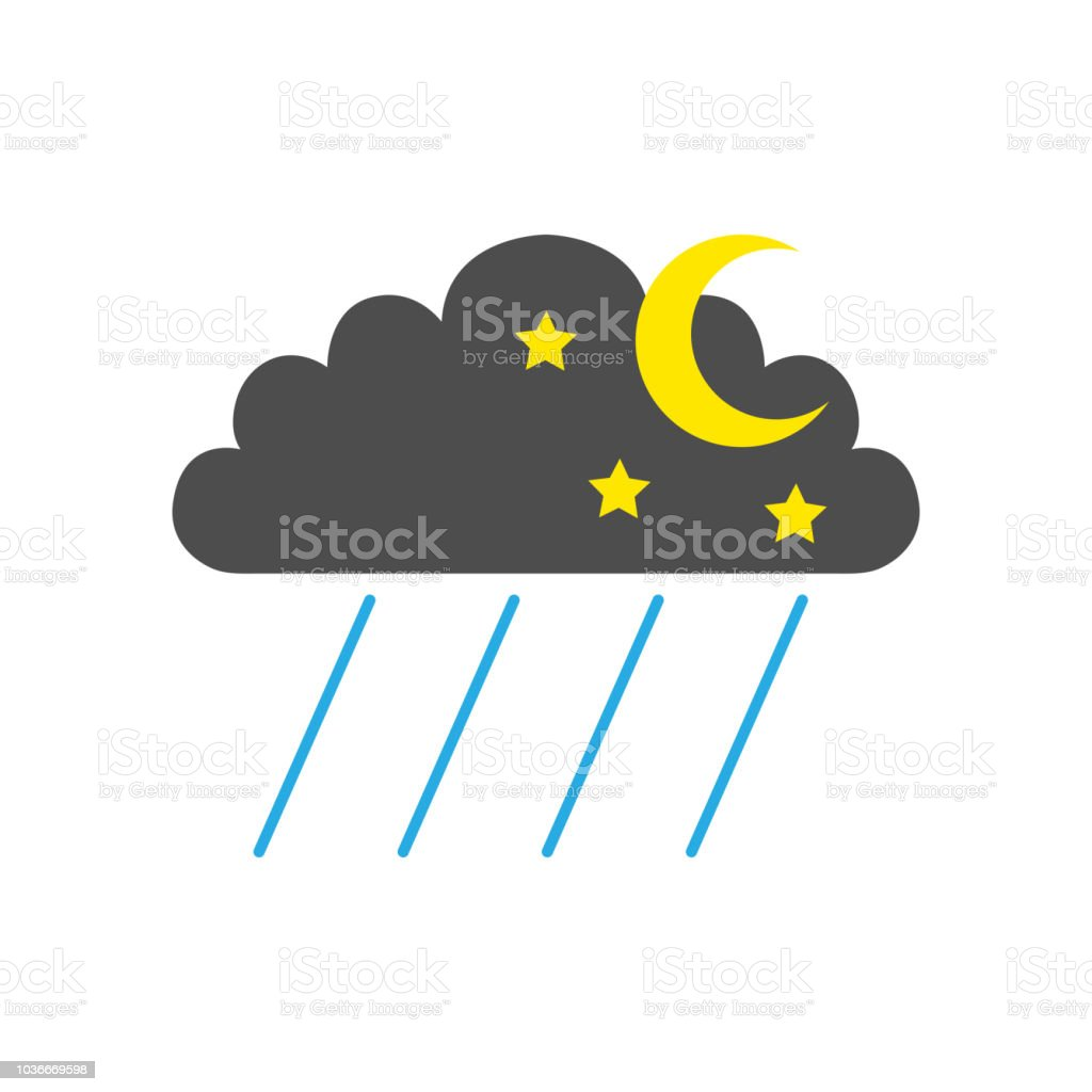 Night Rainfall Symbol Cloud Half Moon Stars And Rain Weather
