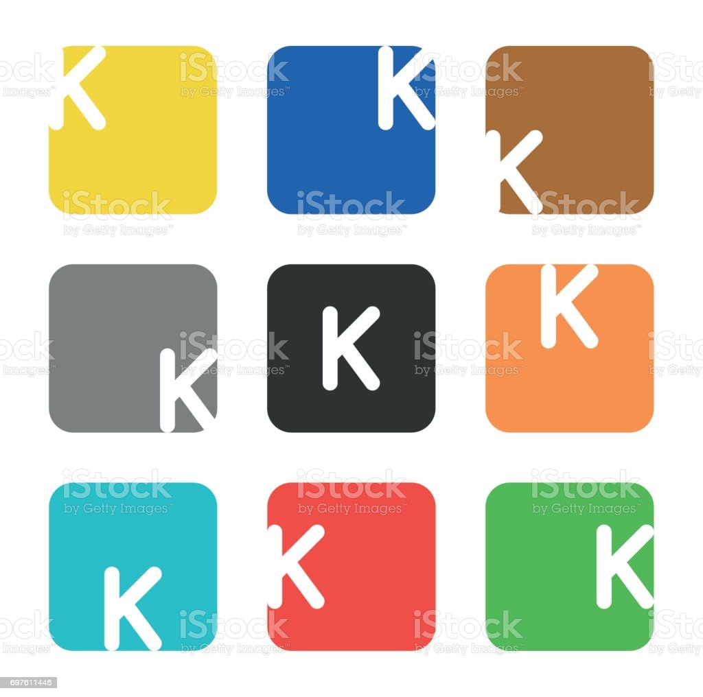 Symbol Element Letter K In Square Stock Vector Art More Images Of