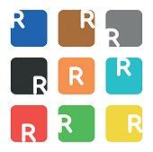 Symbol element, letter R in square