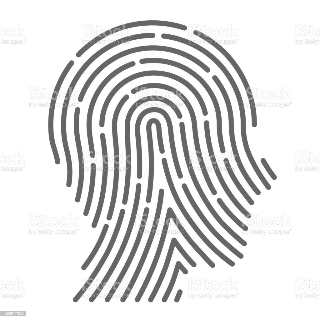 Symbol fingerprint head vector art illustration