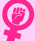 Symbol for female with raised fist. Vector icon design.