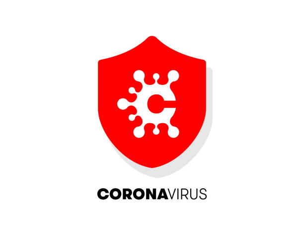 coronavirus symbol for infographics. coronavirus disease illustration. virus protection design on a shield for blogs and press conferences. unified visual appearance for pandemic communication. - covid testing stock illustrations
