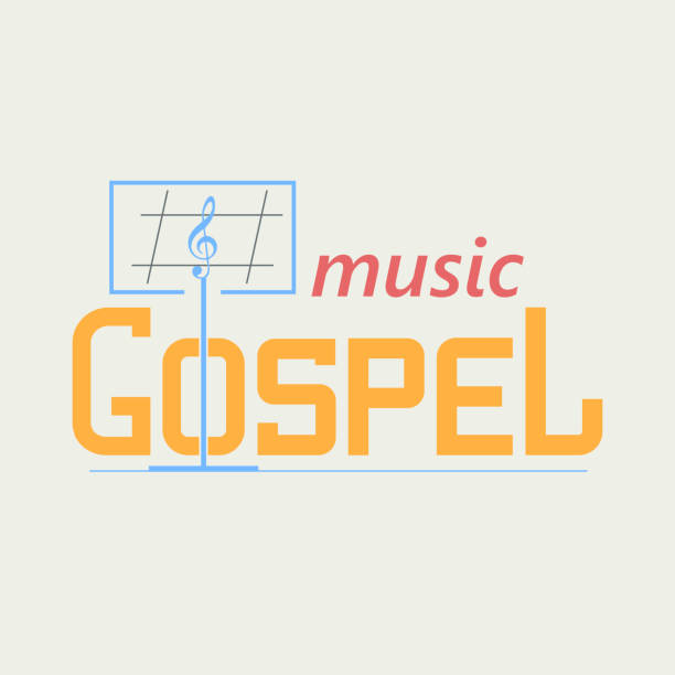 symbol Gospel Music symbol symbolizing the gospel music. Music stand and the treble clef in the text. Vector symbol in a flat style. gospel choir stock illustrations