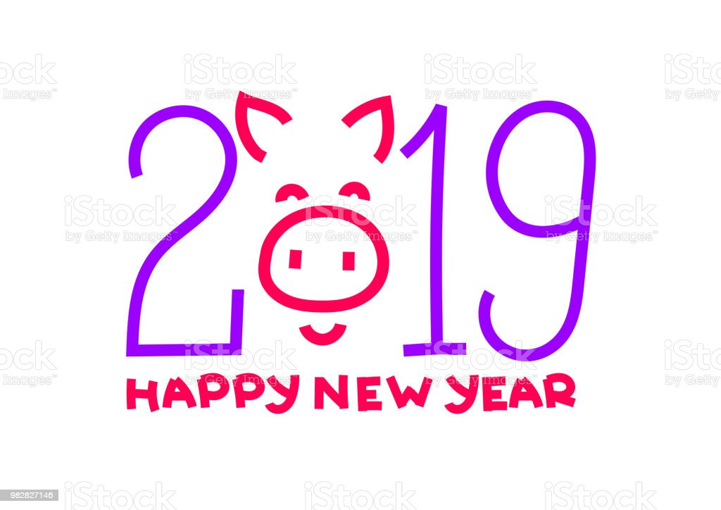happy new year chinese pig banner card purple and