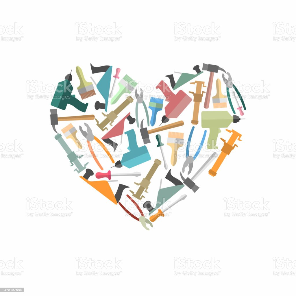 symbol heart of construction tools logo for carpentry shop stock