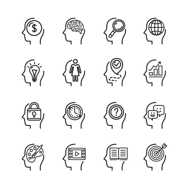 Symbol Human Mind Black Thin Line Icon Set. Vector vector art illustration