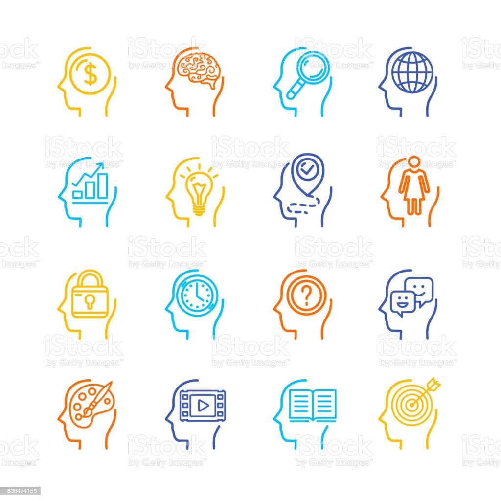 Conjunto de ícones do símbolo mente humana cor linha fina. Vector - ilustração de arte em vetor