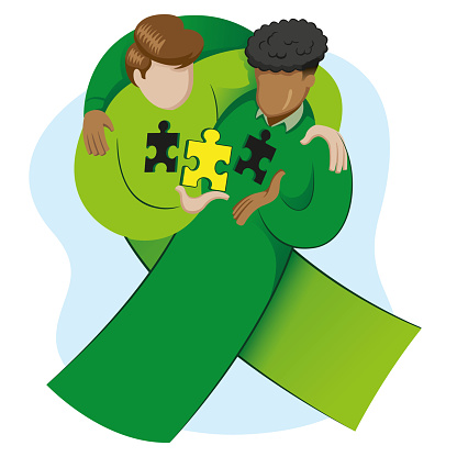 Symbol icon awareness, World Organ Transplant Day, green ribbon. Ideal for educational and informational materials