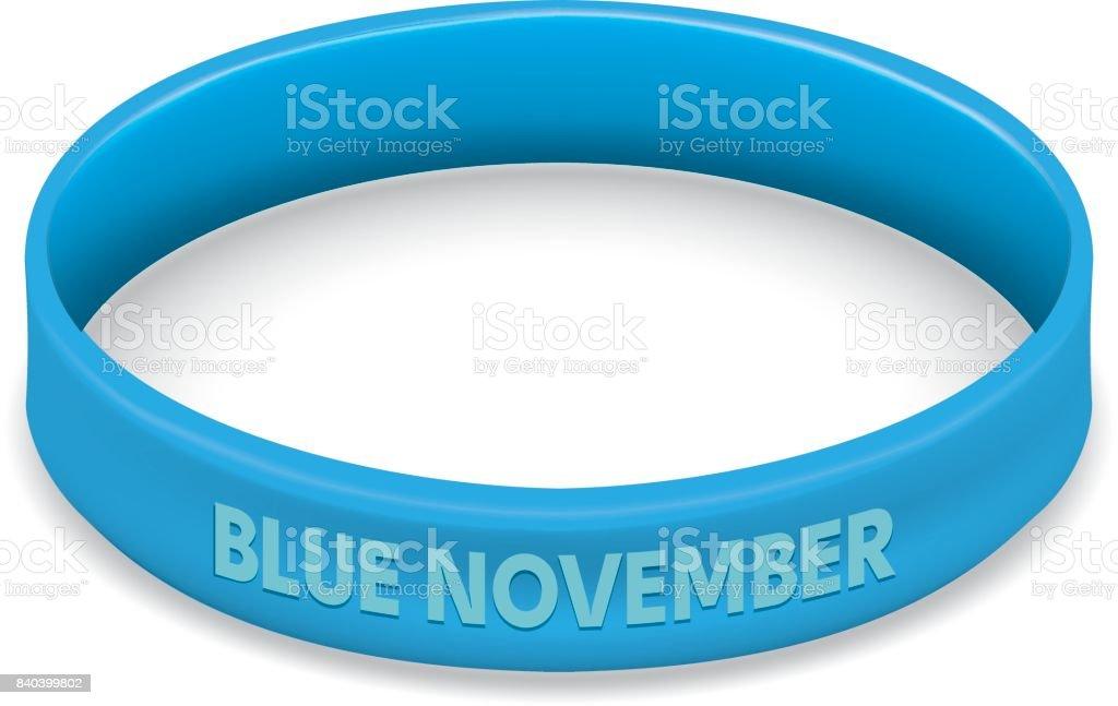 Símbolo icone da luta e da consciência, azul movember, contra pulseira de câncer de próstata, azul. Ideal para materiais educativos e informativos - Vetor de Arte, Cultura e Espetáculo royalty-free