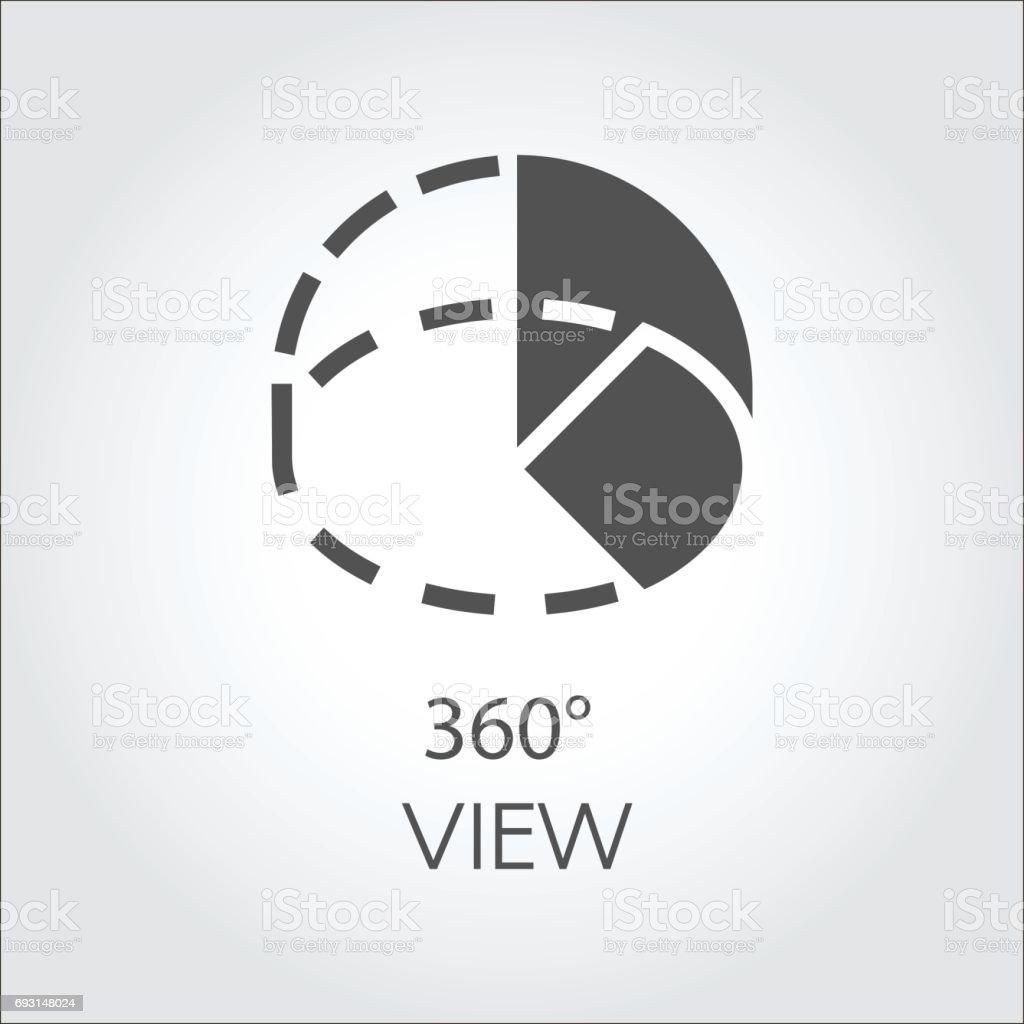 Symbol im schwarzen flachen Stil volle 360 Grad Panoramablick. Dreihundertsechzig Grad Drehung abstrakte Piktogramm – Vektorgrafik