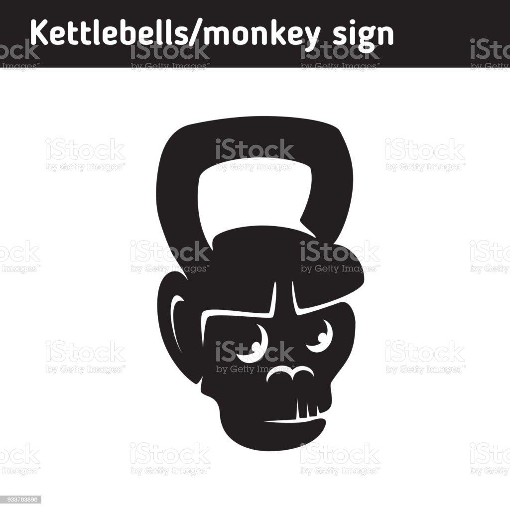 Symbol In Form Von Ein Lustiges Gewichte Kettlebell Ein Affengesicht ...