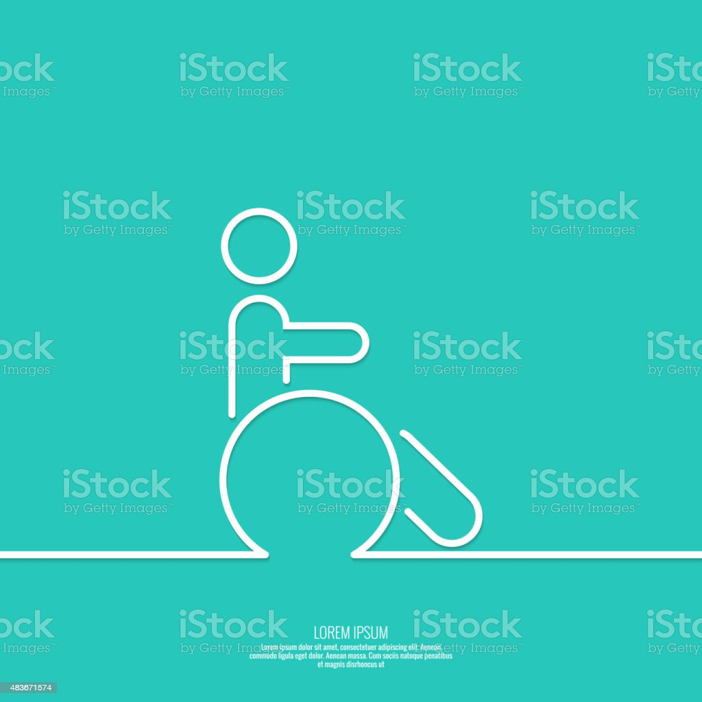 Symbol man on the wheelchair vector art illustration
