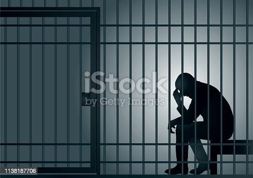 Concept de la prison et de l'arrestation d'un délinquant ou d'un criminel, avec un prisonnier qui assis dans sa cellule qui se tient la tête dans les mains.