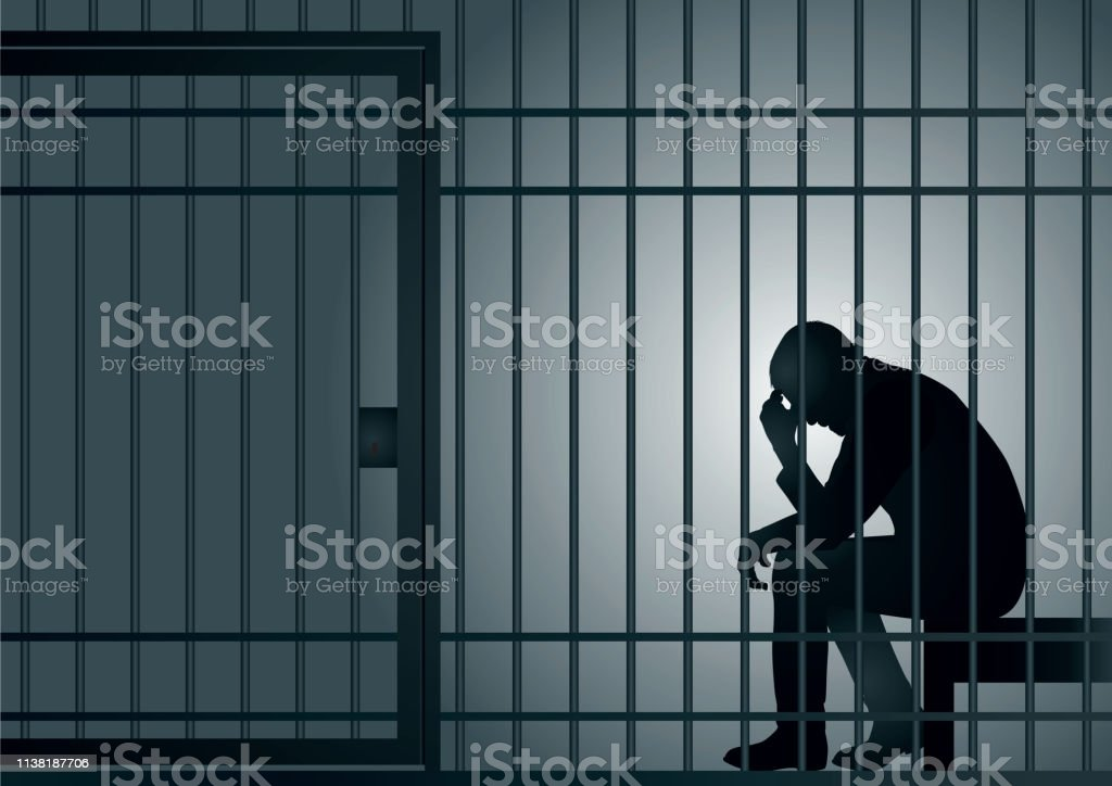 A symbol of a criminal's incarceration with a man imprisoned in a cell. vector art illustration