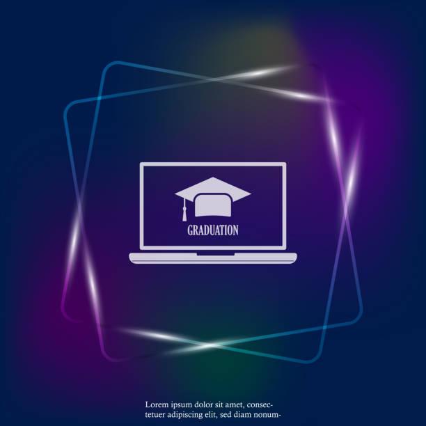 ilustraciones, imágenes clip art, dibujos animados e iconos de stock de símbolo de grado para la enseñanza de icono de luz de neón. plano vectorial webinar icono, formación en línea. las capas agrupan para ilustración edición fácil. para su diseño - training