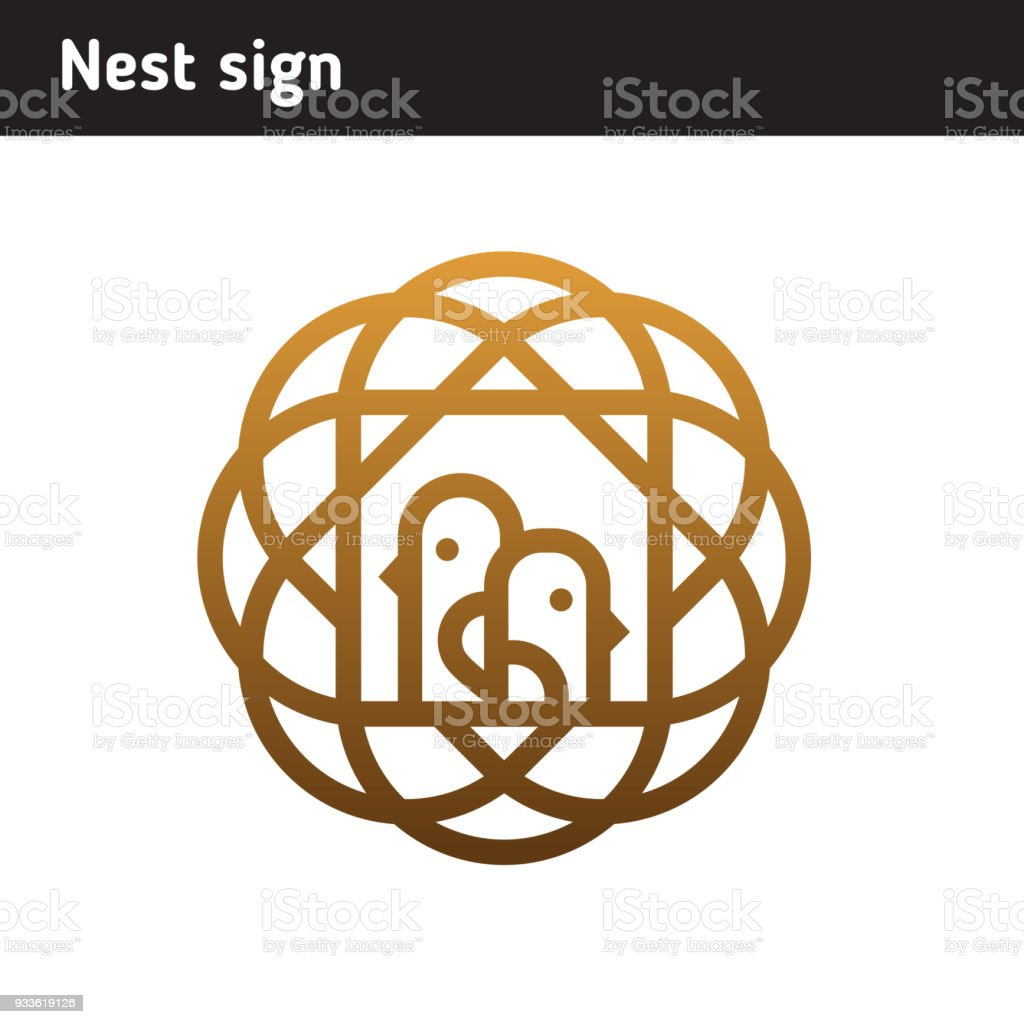 Symbol Of A Nest With A Bird An Area Of Education Or A Family Stock