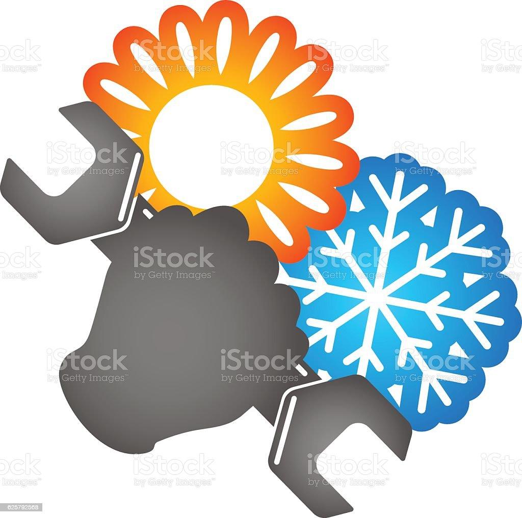 Symbol of air conditioning repair vector art illustration
