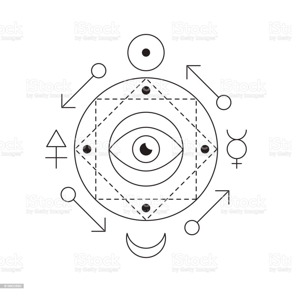 e134e110d2308 Symbol of alchemy and sacred geometry. Linear character illustration for  lines tattoo on the white