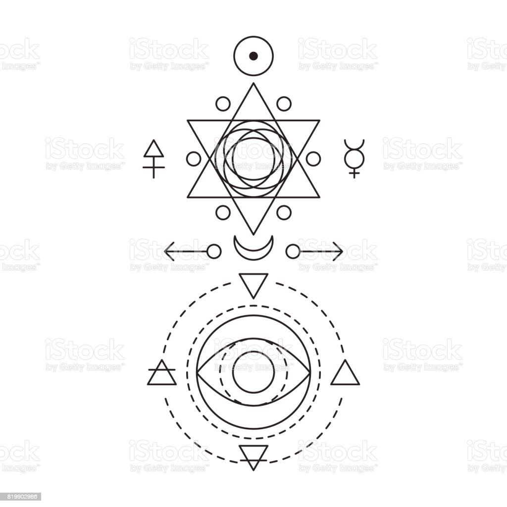 Symbol of alchemy and sacred geometry. Linear character illustration for lines tattoo on the white isolated background. Three primes: spirit, soul, body and 4 basic elements: Earth, Water, Air, Fire vector art illustration